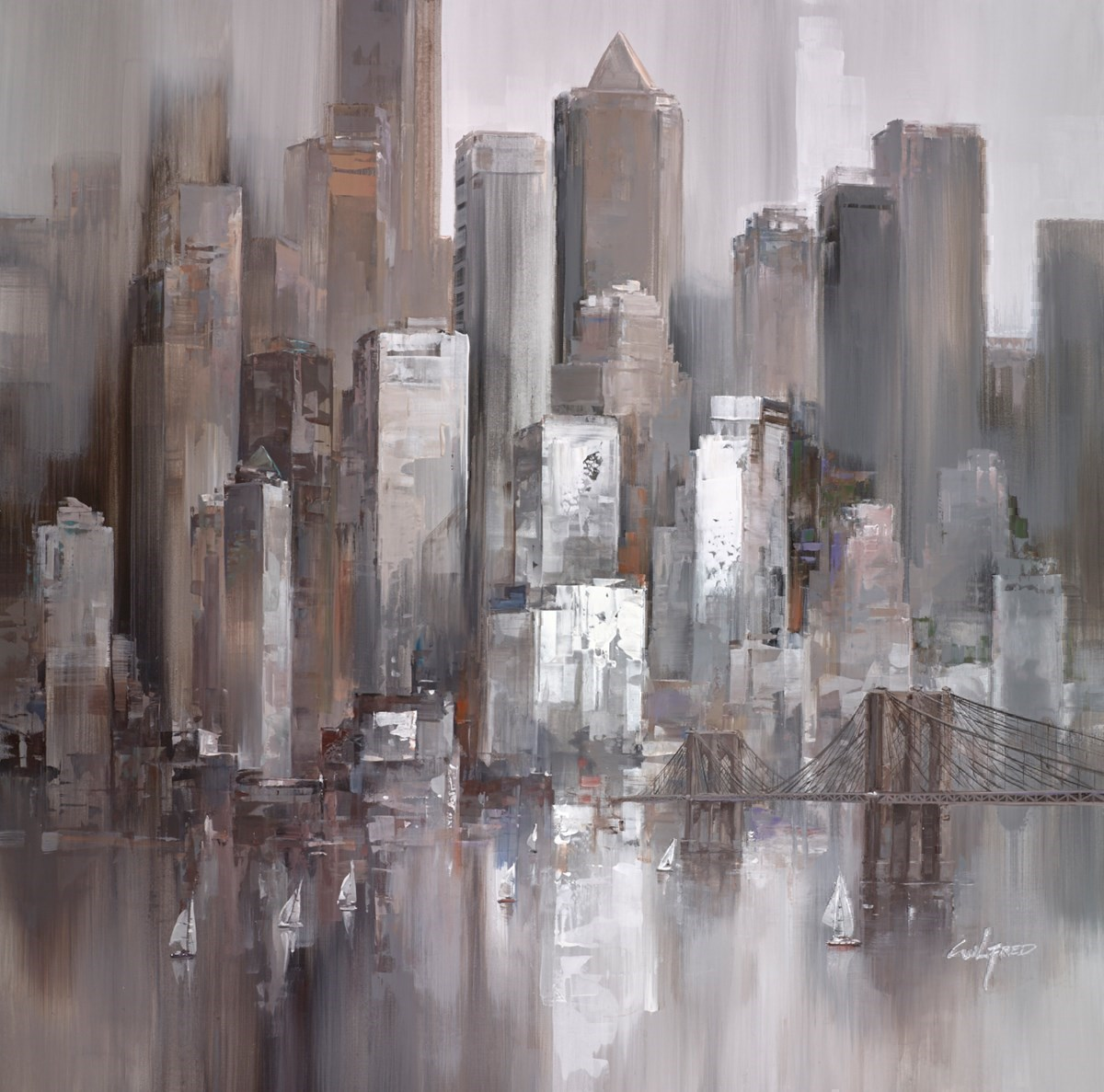 City Shore VI by Wilfred -  sized 38x38 inches. Available from Whitewall Galleries